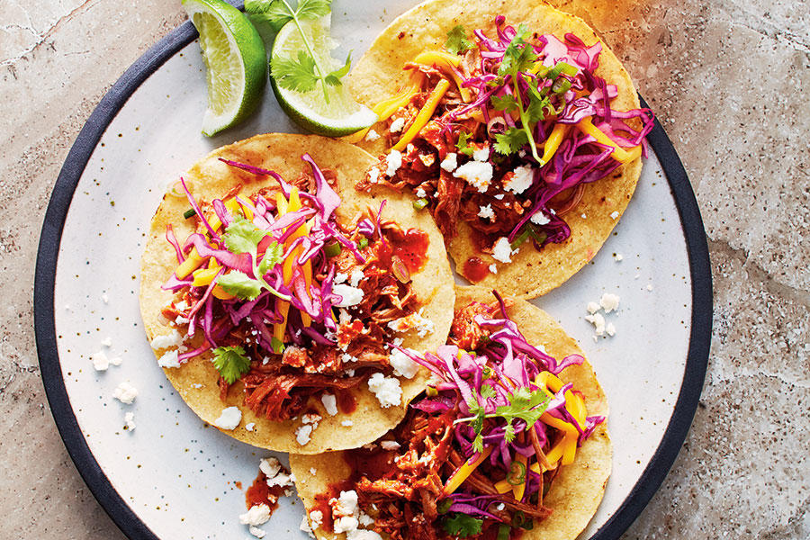 CHILI CHICKEN TACOS WITH MANGO SLAW