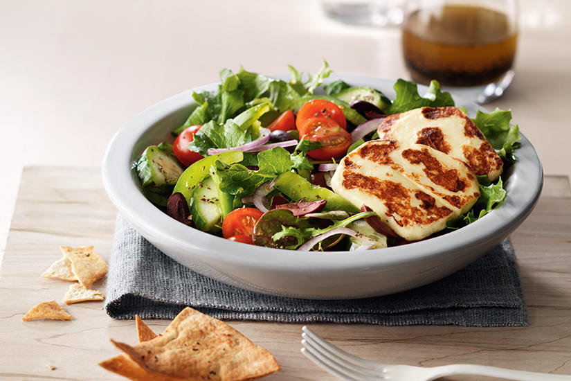 GREEK HALLOUMI SALAD WITH HERBED PITA CHIPS