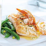 HALIBUT WITH SHRIMP AND CHAMPAGNE BEURRE BLANC