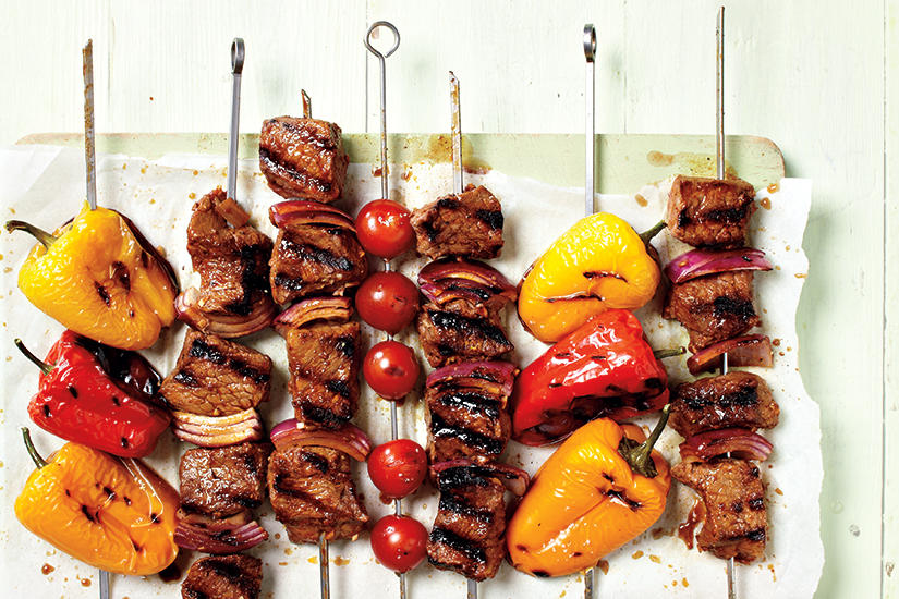 SPICY ADOBO BEEF BROCHETTES WITH MELON CUCUMBER RELISH