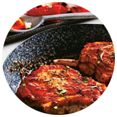 HONEY BALSAMIC PORK CHOPS WITH ROASTED PEPPERS