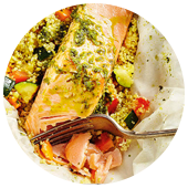 GRILLED SALMON AND COUSCOUS