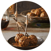 BISON MEATBALLS WITH CIDER MUSTARD SAUCE