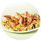 GRILLED CAJUN SHRIMP WITH SUMMER VEGETABLE ORZO