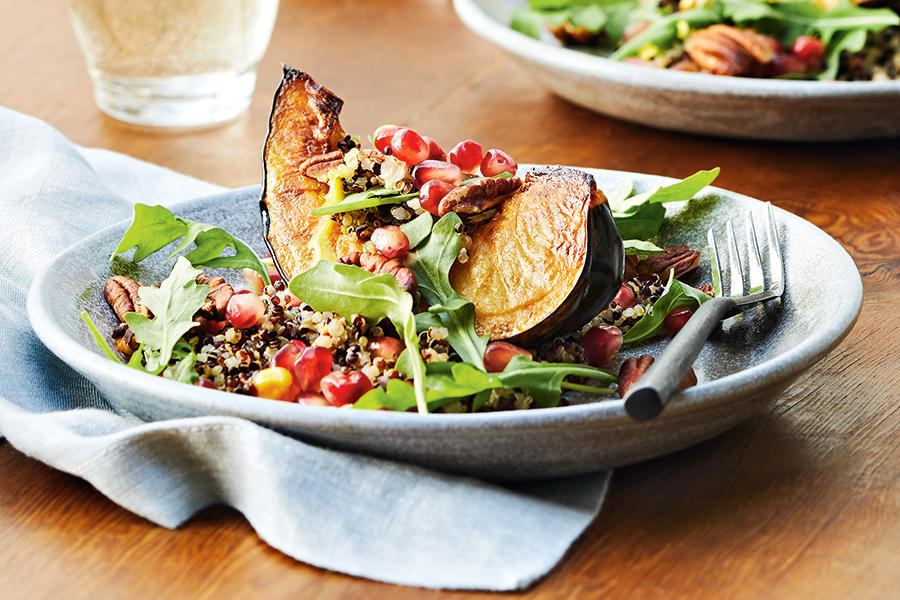 Squash, quinoa & pomegranate salad