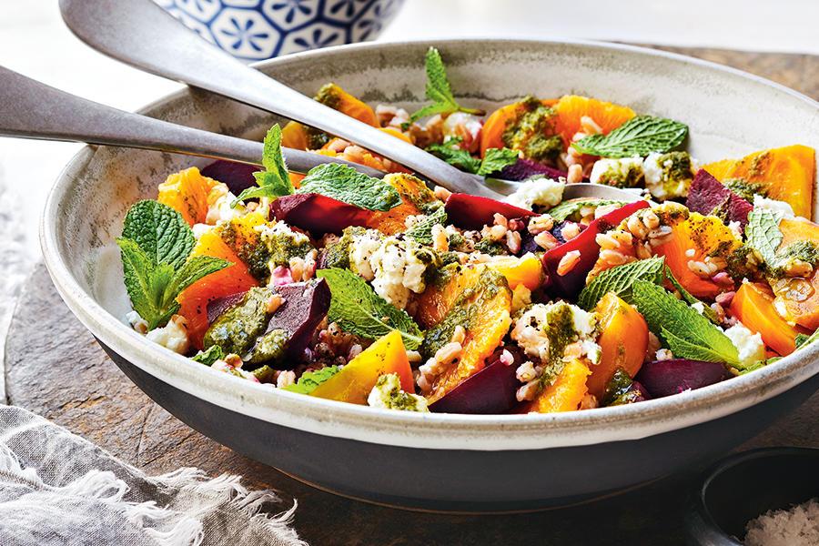 Beet, Clementine & Farro salad