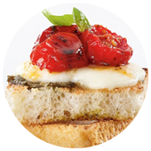 ROASTED TOMATO CAPRESE CROSTINI