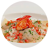 LOBSTER STUFFED RAVIOLO IN FRESH TOMATO CREAM SAUCE