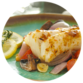 ROASTED COD WITH MUSHROOMS