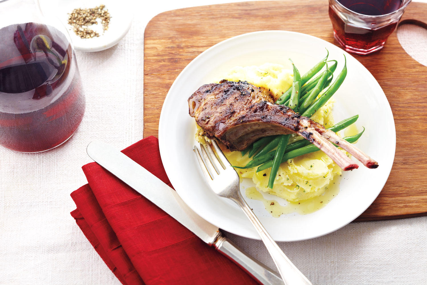 ROSEMARY-DIJON GRILLED LAMB CHOPS AND SMASHED POTATOES