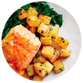 SALMON AND CRISPY POTATOES WITH ORANGE BEURRE BLANC