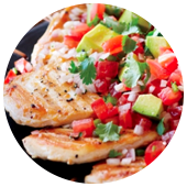LIME GRILLED CHICKEN BREATS WITH AVOCADO SALSA