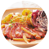DUCK BREASTS WITH RADICCHIO, APPLES AND MAPLE SYRUP
